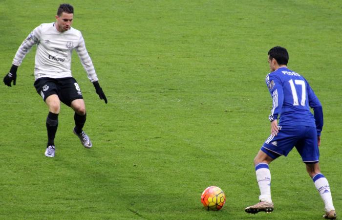 Pedro in dribbling con la maglia del Chelsea