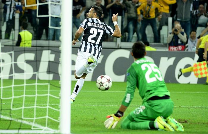 Esultanza di Quagliarella dopo un gol in Juventus-Galatasaray