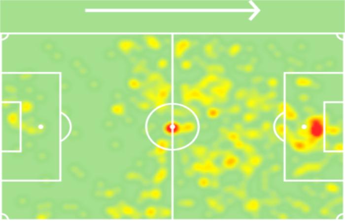 Heatmap di Tammy Abraham al Chelsea (stagione 2020/21)